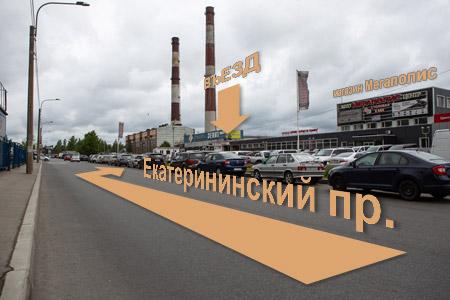 схема проезда фото 1, поворот с Екатерининского проспекта